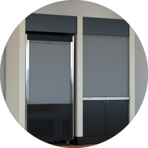 compact unit with shutters down